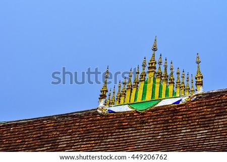 Art roof of Wat Xieng Thong, Luang Phrabang Laos - stock photo