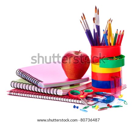 Art school  supplies.  Isolated. - stock photo