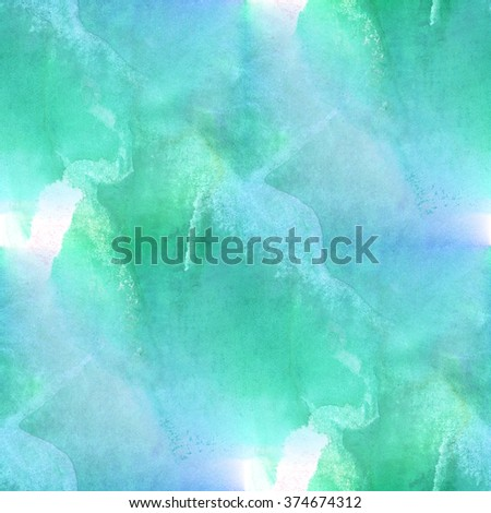 art seamless  watercolor pattern background abstract blue green texture, water paper design wallpaper  - stock photo