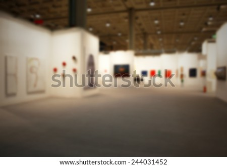 Art show gallery generic background. Intentionally blurred post production. - stock photo