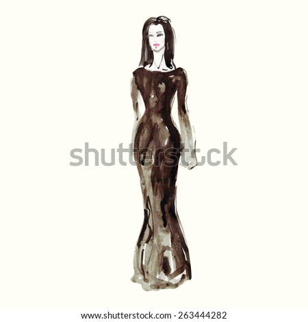 art sketch of beautiful Fashion model . watercolor vector illustration. fashion illustration. image looking not search shutterstock try you
