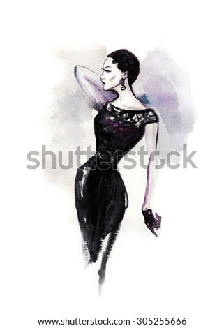 art sketch of beautiful young woman in dress. Outdoor  fashion portrait of beautiful elegant woman wearing luxury vintage dress. fashion background - stock photo