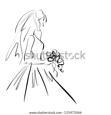 art sketching beautiful melancholy young bride with the bride's bouquet on white background.  Vector version is also in my gallery. - stock photo