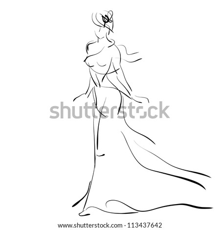 art sketching beautiful young  bride  on white background. Vector version is also in my gallery.