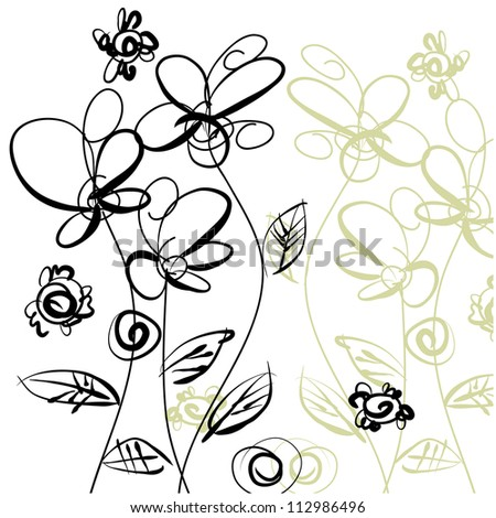 art sketching floral vector background. Vector version is also in my gallery.