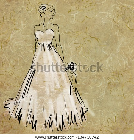 art sketching of beautiful melancholic young bride in white dress and with the bride's bouquet - stock photo