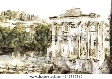 art sketching vintage background with european antique town, Italy, Rome - stock photo