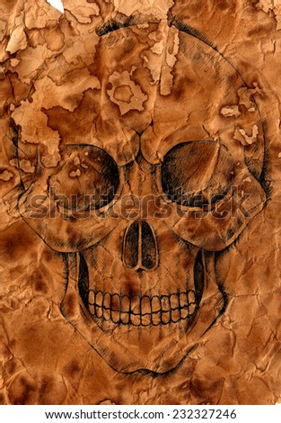 Art Skull .Hand Drawing on old paper texture.  - stock photo