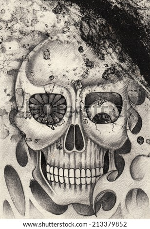 Art skull tattoo. Hand drawing mix etching on paper.