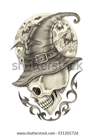 Art skull witch tattoo Halloween day.Hand pencil drawing on paper. - stock photo
