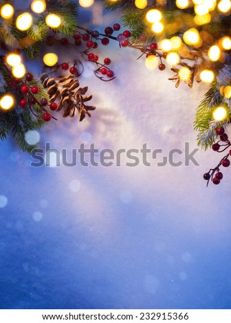 Art snowy Christmas background; - stock photo