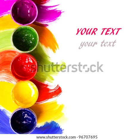 art studio paints, palette - stock photo