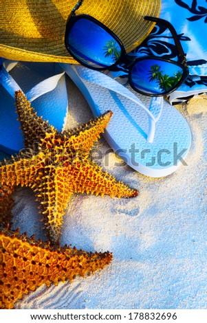 Art Summer holidays sea beach  background - stock photo
