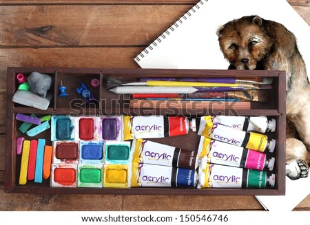 Art Supplies and Sketch Pad - stock photo