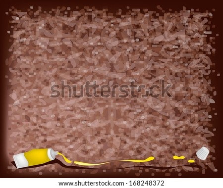 Art Supply, Paint Tube or Color Tube of Yellow Color Paint From A Tube on Beautiful Abstract Dark Brown Background with Copy Space for Text Decorated
