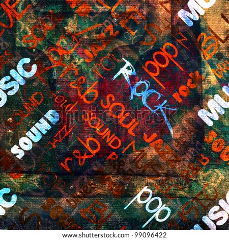 art urban graffiti raster dark background with bright music name words - stock photo