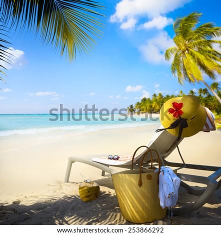 Art Vacation on summer Beach Paradise - stock photo