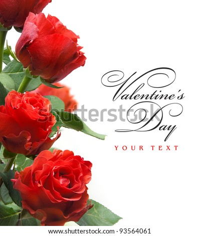 art valentines greeting card with red roses  isolated on white background - stock photo