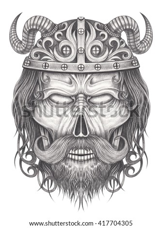 Art viking skull tattoo hand pencil stock illustration for Drawing tattoos on paper