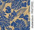 art vintage blue floral seamless pattern on old paper textured background. Vector version is also in my gallery. - stock photo