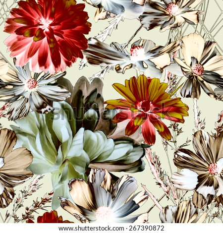 art vintage blur colorful graphic and watercolor floral seamless pattern with white peonies and gold and red asters isolated on light background - stock photo