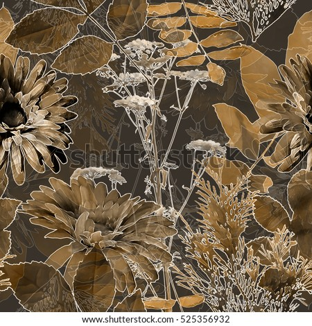 art vintage blurred monochrome brown watercolor and graphic floral seamless pattern with gerbera, grasses and leaves on black background. Double Exposure effect