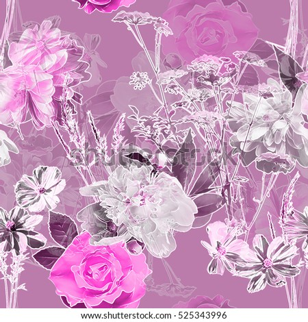 art vintage blurred monochrome pink watercolor and graphic floral seamless pattern with white peonies, roses and leaves on background. Double Exposure effect