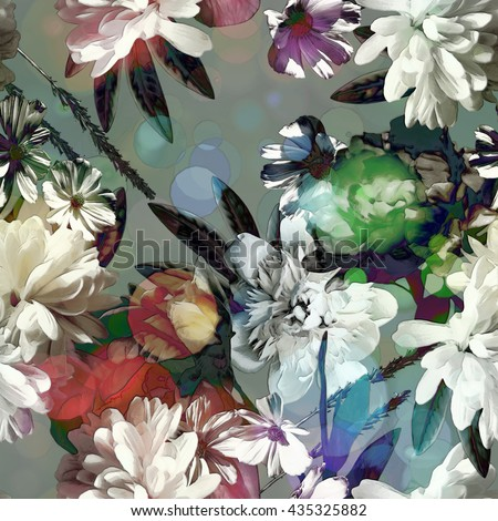 art vintage colored blurred floral seamless pattern with red, green and white roses, asters and peonies on grey  background. Bokeh effect - stock photo