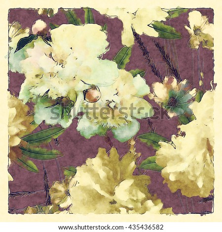art vintage colored watercolor floral pattern with white and gold peonies and roses, green grass and leaves on dark lilac background in light frame - stock photo
