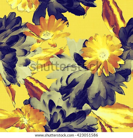 art vintage colored watercolor floral seamless pattern with black and yellow gold peonies, gerbera and asters on gold background - stock photo