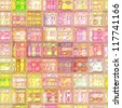 art vintage colorful abstract seamless tiles background in pink and yellow colors - stock photo