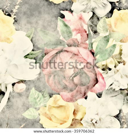 art vintage colorful watercolor and graphic floral seamless pattern with white, old gold and pink roses and peonies on dark background