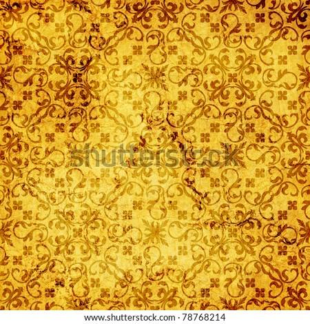 art vintage damask seamless pattern, golden background - stock photo