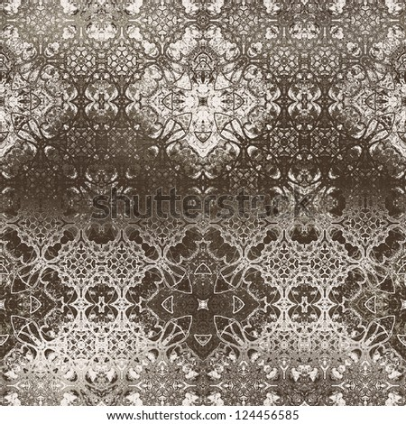 art vintage damask seamless pattern, monochrome silk background in beige brown and white colors