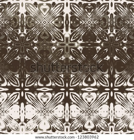 art vintage damask seamless pattern, silk background in brown and white colors - stock photo