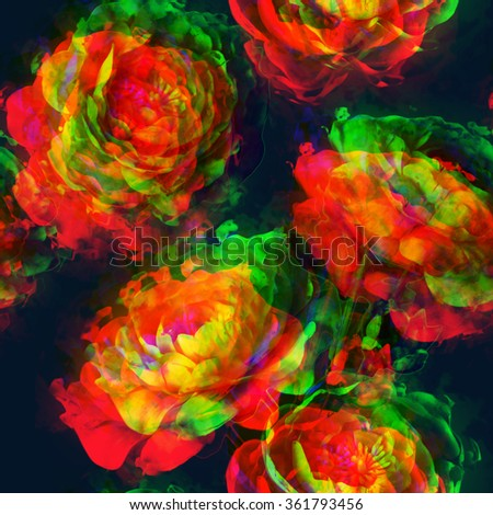 art vintage floral seamless pattern  with golden, red, orange and green peonies on blue black background. Double Exposure effect - stock photo