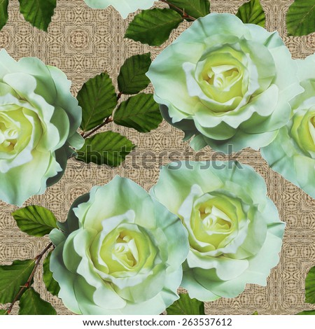 art vintage floral seamless pattern  with tea white roses on ornamental beige background - stock photo