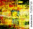 art vintage graffiti pattern, valentine background in red, gold, yellow, orange, green and black colors with word love and hearts - stock photo