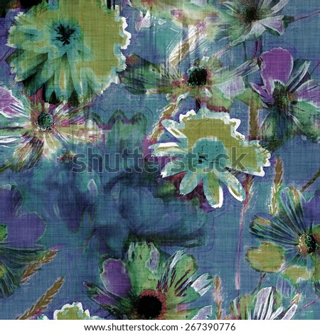 art vintage graphic and watercolor floral pattern with blue peonies and gold green asters on blue background - stock photo