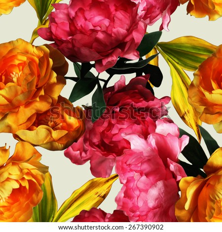 art vintage graphic and watercolor floral seamless pattern with gold and pink red peonies isolated on white background - stock photo