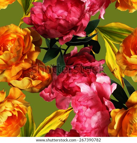 art vintage graphic and watercolor floral seamless pattern with gold and pink red peonies on green olive  background - stock photo