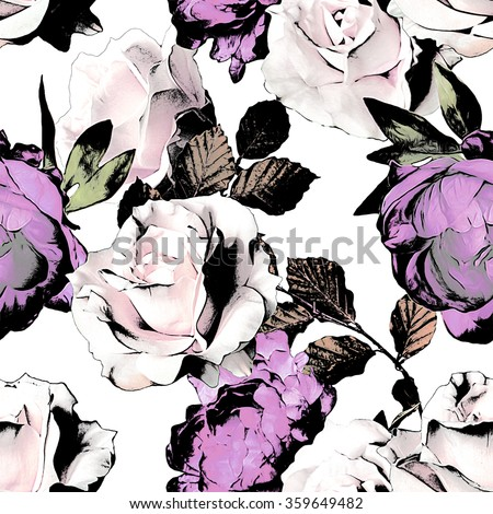 art vintage monochrome watercolor and graphic floral seamless pattern with white and lilac roses and peonies isolated on white background - stock photo