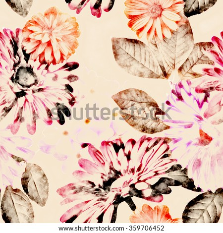 art vintage monochrome watercolor and graphic floral seamless pattern with white and pink asters, gerbera and phlox on light background - stock photo
