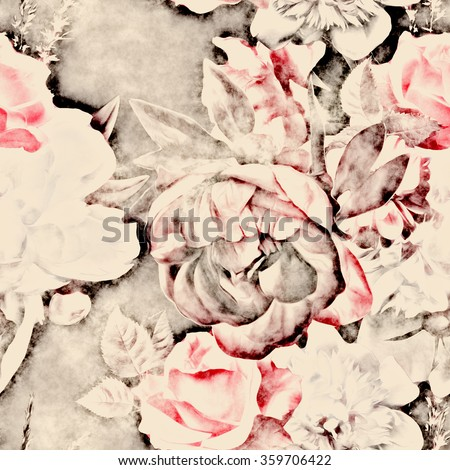 art vintage monochrome watercolor and graphic floral seamless pattern with white and pink roses and peonies on dark background - stock photo