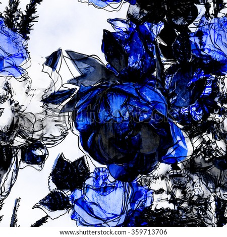 art vintage monochrome watercolor and graphic floral seamless pattern with white, black and blue roses and peonies isolated on white background - stock photo