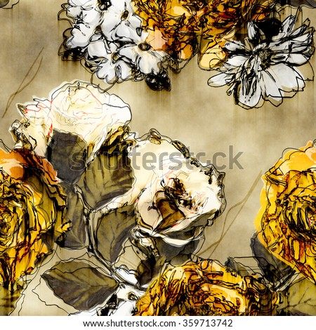 art vintage monochrome watercolor and graphic floral seamless pattern with white, black and yellow gold roses, asters and phlox on beige background - stock photo