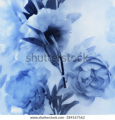 art vintage monochrome watercolor blurred floral seamless pattern with blue peonies on light blue background - stock photo