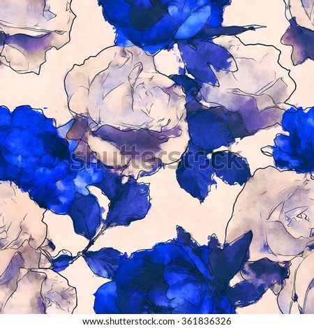 art vintage monochrome watercolor floral seamless pattern with white roses and blue peonies isolated on white background - stock photo