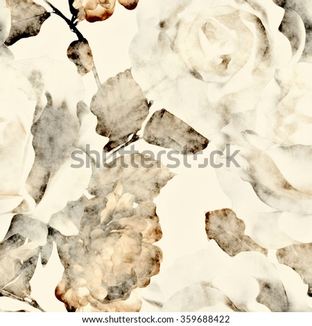 art vintage monochrome watercolor floral seamless pattern with white roses and gold brown peonies isolated on white background - stock photo