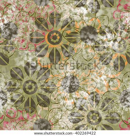 art vintage naive stylized geometric flowers colored seamless pattern, grunge background in olive, red, white and black colors